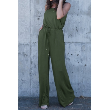 Lovely Euramerican Spaghetti Strap Sleeveless Army Green Blending One-piece Jumpsuits