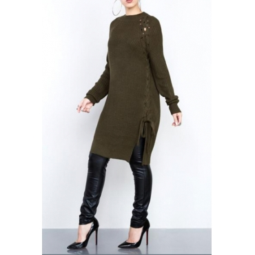 Stylish Round Neck Hollow-out Army Green Cotton Sweaters