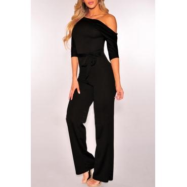 Euramerican Dew Shoulder Black Polyester One-piece Jumpsuits