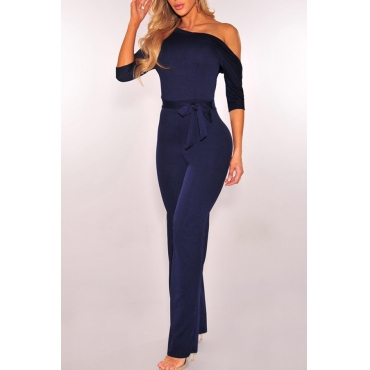 Euramerican Dew Shoulder Navy Blue Polyester One-piece Jumpsuits
