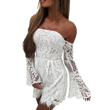 Sexy Dew Shoulder Lace Trim Patchwork White One-piece Jumpsuits