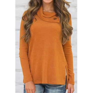 Trendy Long Sleeves Side Split Orange Cotton Shirts