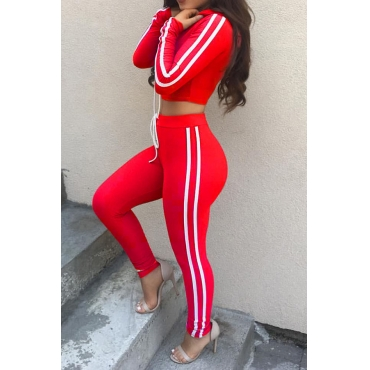 Leisure Long Sleeves Striped Patchwork Red Velvet Two-piece Pants Set