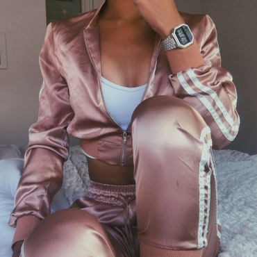 Trendy Mandarin Collar Long Sleeves Zipper Design Pink Polyester Two-piece Pants Set