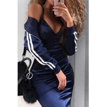 Trendy Mandarin Collar Long Sleeves Zipper Design Blue Polyester Two-piece Pants Set