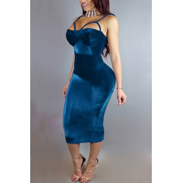 Sexy Hollow-out Blue Velvet Sheath Mid Calf Dress