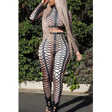 Sexy Round Neck Printed Black Polyester Two-piece Pants Set