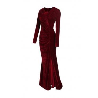 Trendy V Neck Velvet Fold Design Green Velvet Mermaid Ankle Length Dress