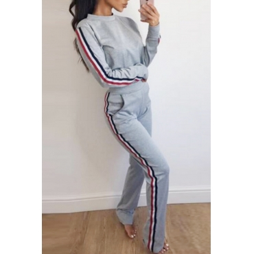 Leisure Striped Patchwork Grey Polyester Two-piece Pants Set