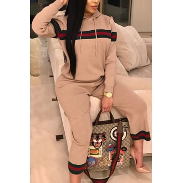 Leisure Hooded Collar Patchwork Pink Cotton Two-piece Pants Set