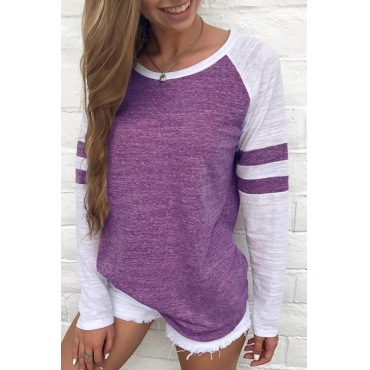 Lovely Leisure Round Neck Patchwork Purple Polyester T-shirt