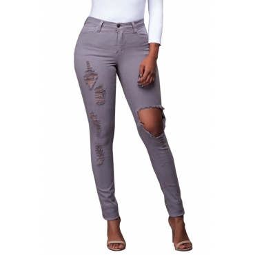 Trendy Mid Waist Broken Holes Grey Denim Pants