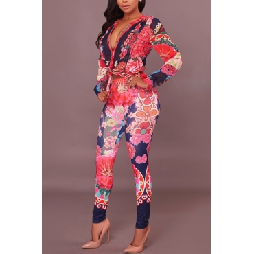 Euramerican V Neck Floral Print Red Polyester Two-piece Pants Set