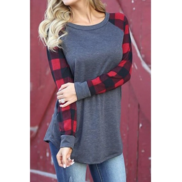 Lovely  Leisure Round Neck Patchwork Red Spandex T-shirt