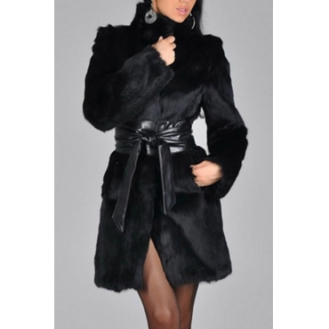 Stylish Turtleneck Long Sleeves Patchwork Black Faux Fur Coat(With Belt)