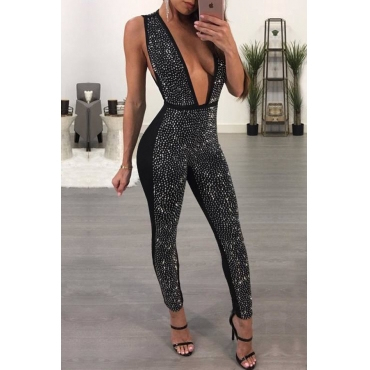 Sexy Deep V Neck Sequined Decorative Black Polyester One-piece Jumpsuits