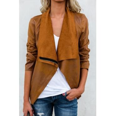 Lovely Euramerican Turndown Collar Zipper Design Camel Short Coat