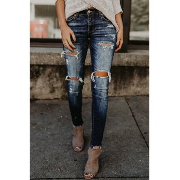 Lovely Trendy Mid Broken Holes Blue Denim Pants