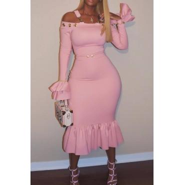 Sexy Bateau Cuello Falbala Diseño Vestido De Terciopelo Rosa Tobillo