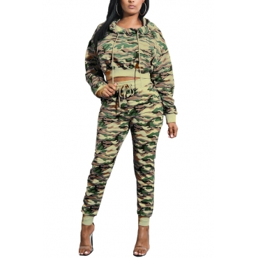 Euramerican Hooded Collar Printed Patchwork Army Green Qmilch Two-piece Pants Set