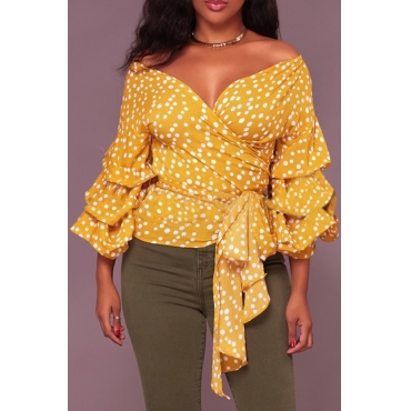 Sexy V Neck Polka Dot Design Yellow Cotton Shirts