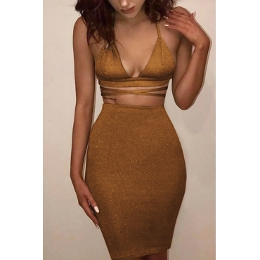 Sexy Backless Hollow-out Golden Cotton Two-piece Skirt Set