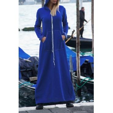 Casual V Neck Blue Milk Fiber Ankle Length Dress