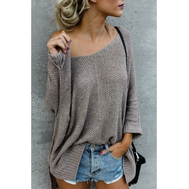 Lovely Euramerican V Neck Dew Shoulder Grey Acrylic Sweaters