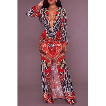 Sexy Deep V Neck Slit Printed Healthy Sheath Ankle Length Dress