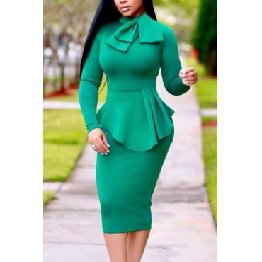 Trendy Round Neck Drape Collage Design Green Polyester Sheath Mid Calf Dress