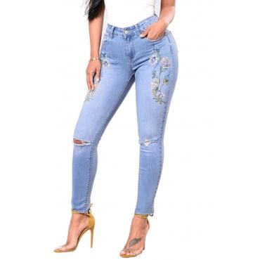 Trendy Mid Waist Broken Holes Baby Blue Denim Pants