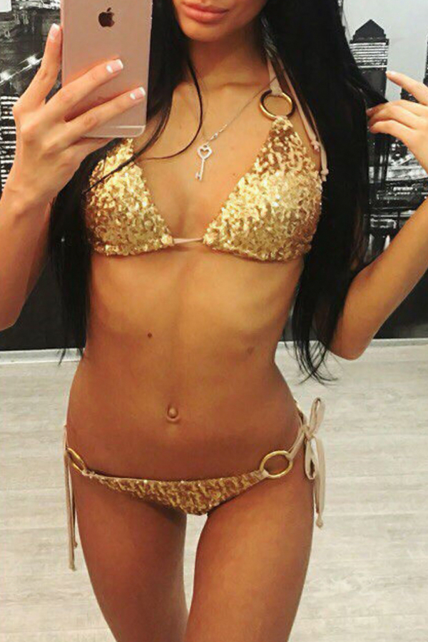 Sexy Sequined Decorative Gold Lace Bra Set