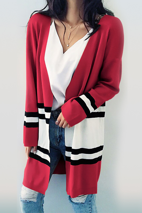 Euramerican Long Sleeves Patchwork Red Cotton Cardigans