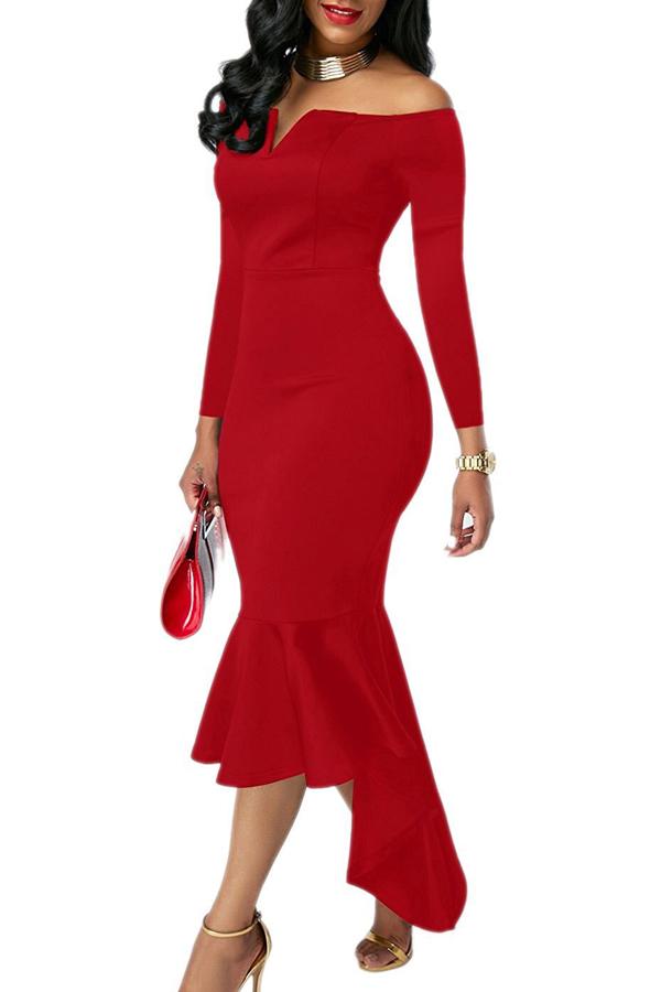 Sexy Bateau Cuello Dovetail Forma Diseño Rojo Poliéster Hasta El Tobillo Vestido