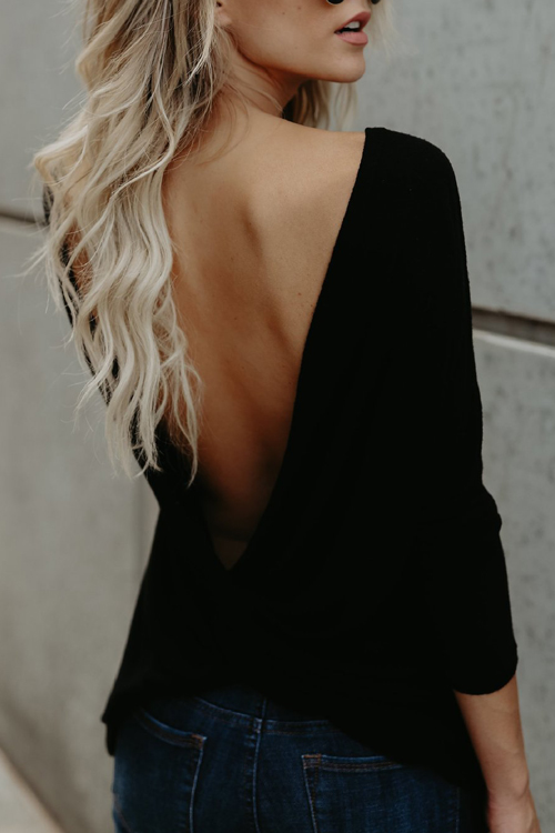 Sexy Round Neck Backless Black Polyester T-shirt<br>