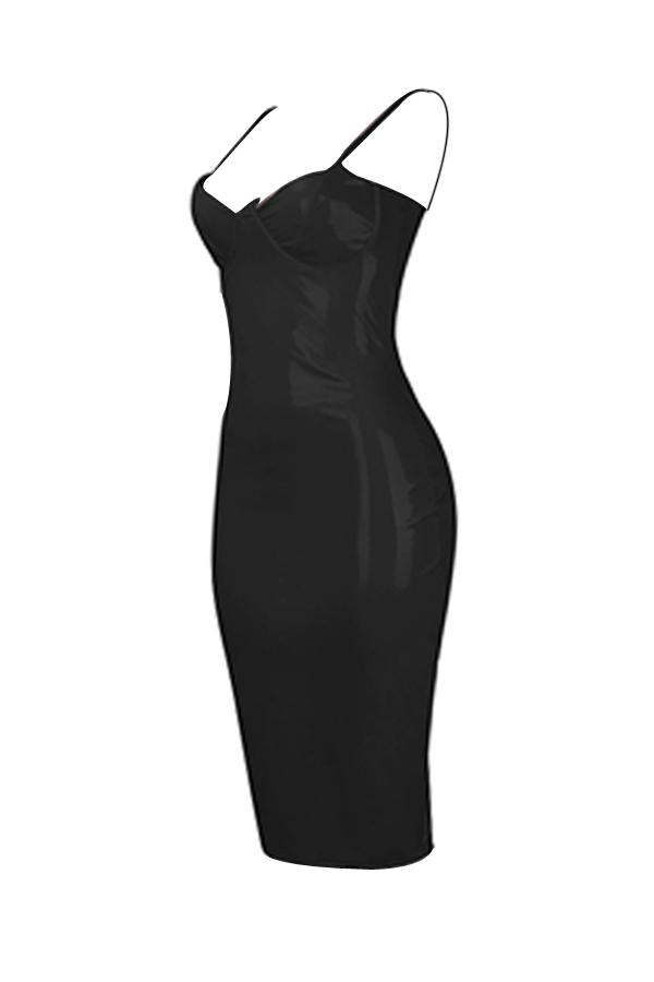 Sexy Spaghetti Strap Sleeveless Black Polyester Sheath Knee Length Dress