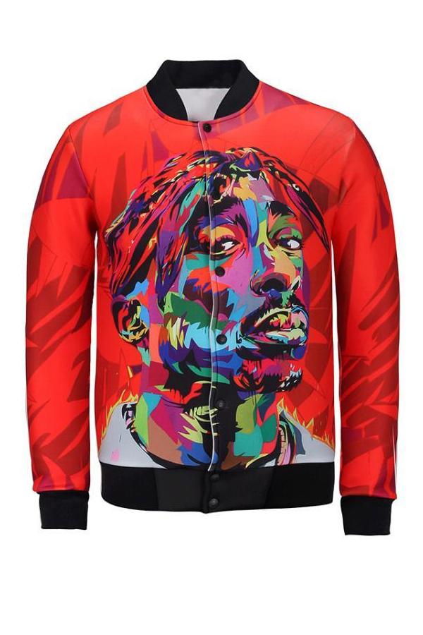 Euramerican Mandarin Collar Printed Red Polyester Jacket