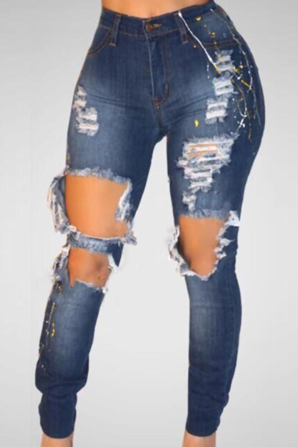 Trendy High Waist Broken Holes Blue Denim Pants