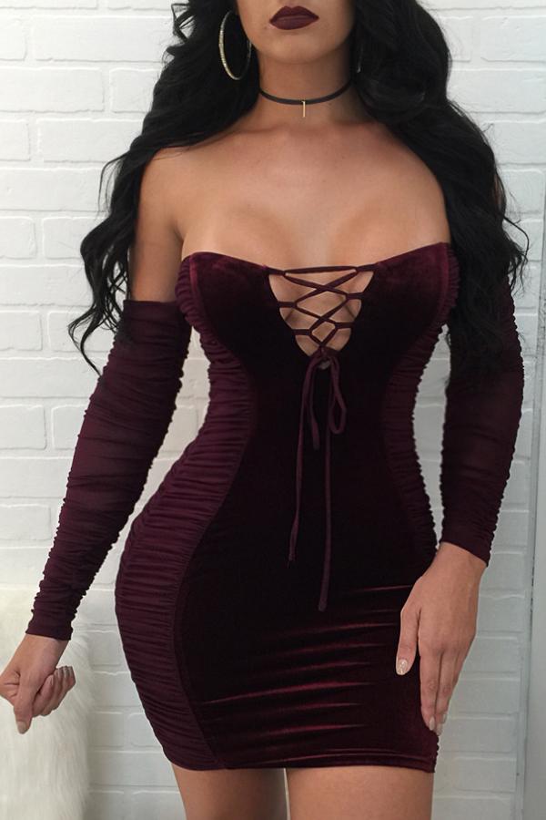 Sexy Strapless Lace-up Oco-out Vinho Vestido De Veludo Vermelho Mini