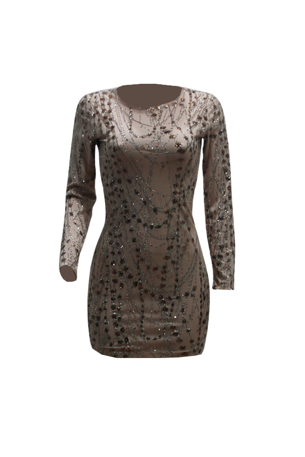 Sexy Round Neck See-Through Sequined Decorative Beige Milk Fiber Mini Dress(With Lining)