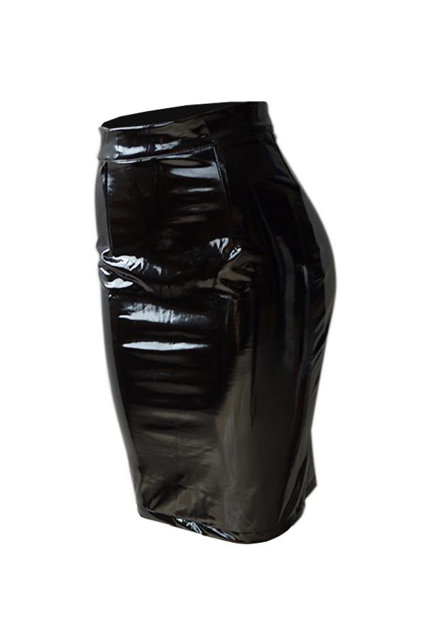 Euramerican High Waist Black Leather Knee Length Skirts