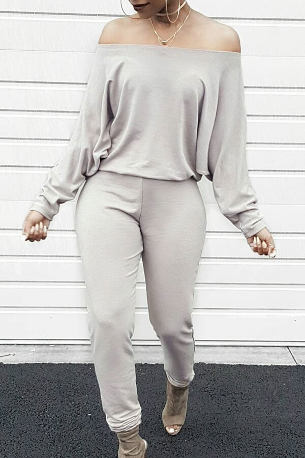Stylish Bateau Neck Batwing Sleeves Grey Blending One-piece Jumpsuits