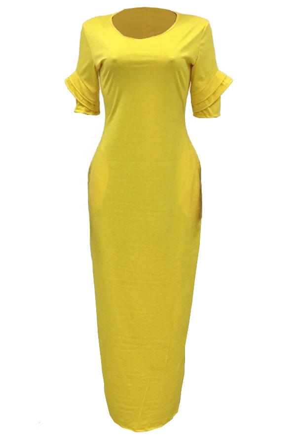 Lazer Em Volta Do Pescoço Design De Bolso Amarelo Poliéster Vestido Até O Chão