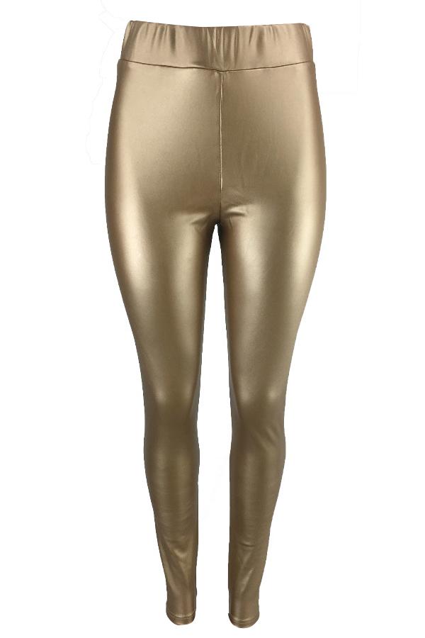 Euramerican Hohe Elastische Taille Gold Lederhose