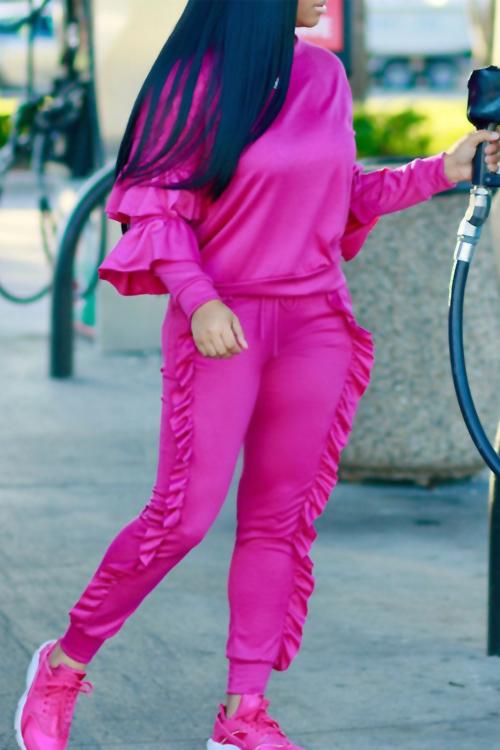 Modischer Rundhalsausschnitt Geraffte Rose Blending Zweiteilige Hose Set