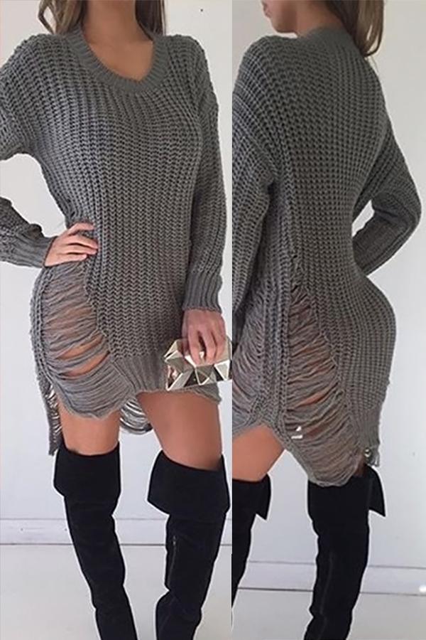 Sexy Round Neck Broken Holes Torn Edges Grey Polyester Mini Dress Dresses <br><br>