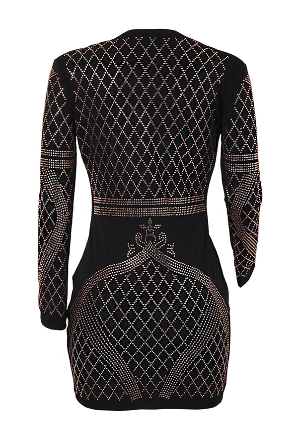 Sexy V Neck Hot Drilling Decorative Black Healthy Fabric Mini Dress
