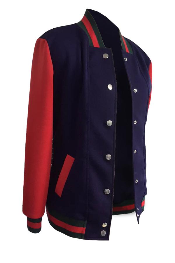Stylish Mandarin Collar Patchwork Blue Polyester Coat