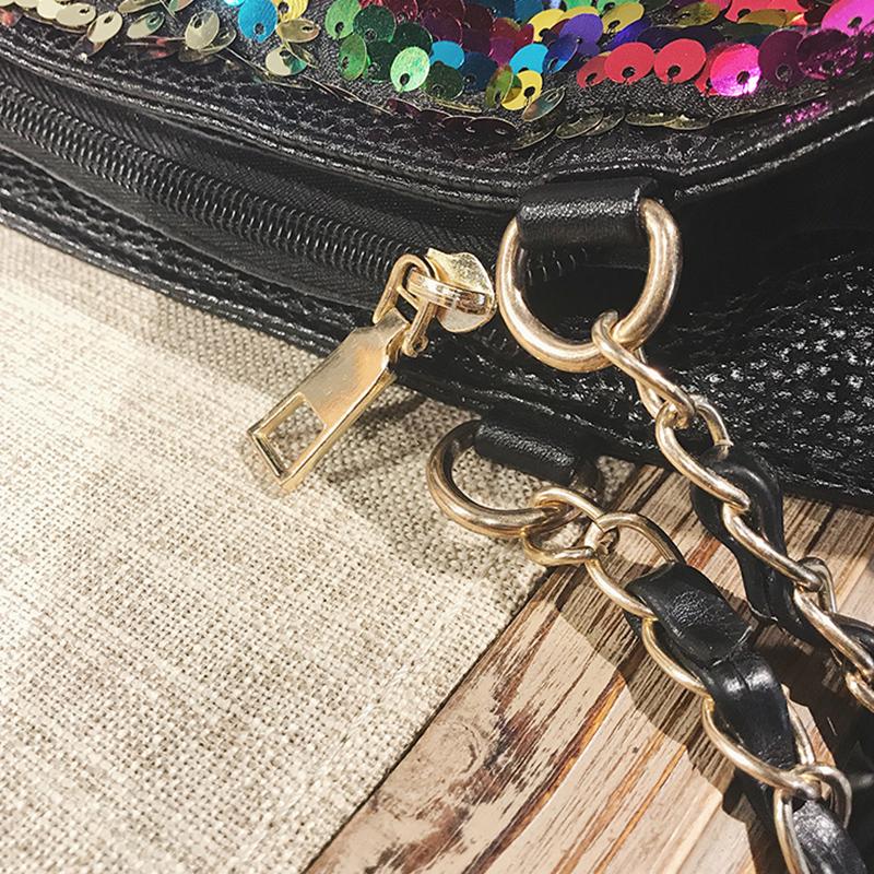 Fashionable Sequined Decorative Black PU Shoulder Bags