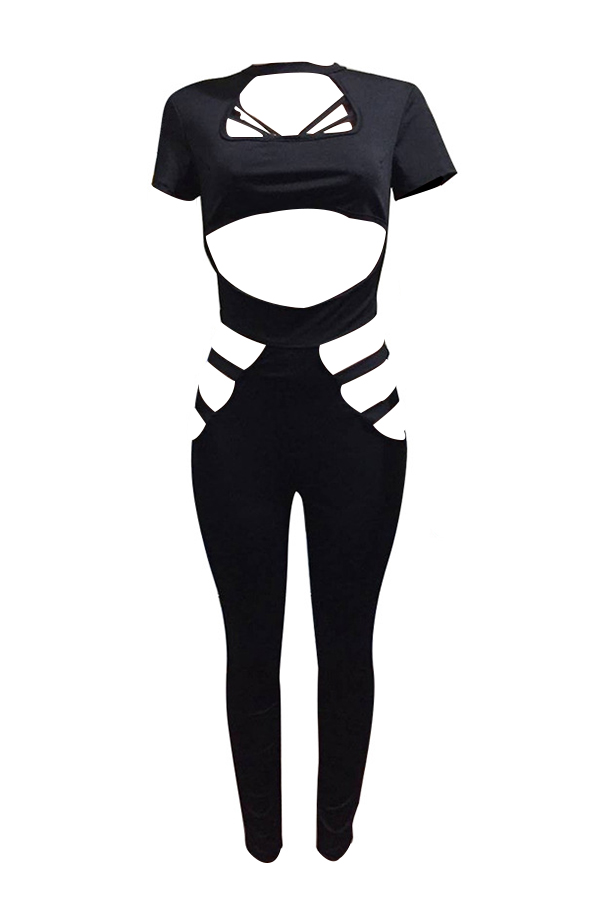 Sexy Round Neck Hollow-out Black Polyester One-piece Jumpsuits